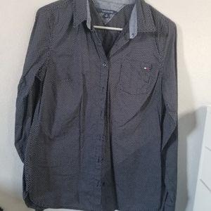 Tommy Hilfiger Navy Polka Dot Button Down Shirt